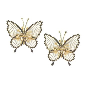Vintage 50s Monet Butterfly Pins, Spinnerette Series - Set of Two
