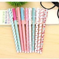 Rbenxia Gel Ink Roller Ball Pens Plastic Cartoon Pin Type Office Students Pen Pack of 10pcs