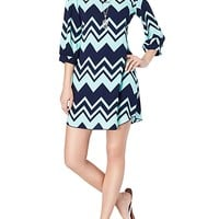 Chevron Keyhole Shift Dress