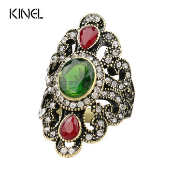 Luxury Turkish Jewelry Crystal Big Rings Vintage Look Charm Crystal Resin Hollow Out Pattern Female Love Ring