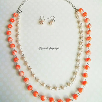 Multi Strand Orange Necklace Strand Necklace Bridemaids Necklaces Bridal Necklace Light Orange Pearls Necklace Peach Pearls Necklace
