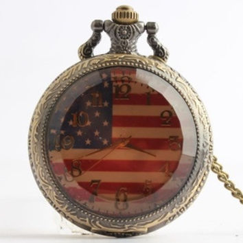 European and American style retro fashion watch American flag flip brown face pocket watch students watch men and women (Color: Dark brown) = 1753786948