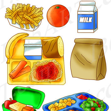 School Lunch Food Clipart Set, Tray, Brown Paper Bag, Sandwich, Apple, Orange, Snack Kids, Milk, Hand Drawn Illustrations Commercial Vector