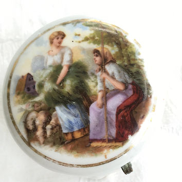 French Country Trinket Box, Pastural Scene, Ladies Tending Sheep, Limoges Style Pill Box