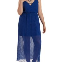 Plus Size Blue Strappy Textured Maxi Dress by Charlotte Russe