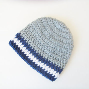 Crochet Baby Boy Hat - Crochet Beanie for Boys - Crochet Cowboys Hat for Babies - Dallas Cowboys Football Beanie - Cowboys Photo Prop