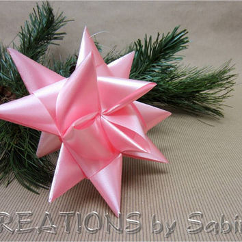 Large German Ribbon Star / Baby Girl First 1st Christmas / Froebel Advent Danish Swedish Pennsylvanian Origami 3D Stars READY TO SHIP (20)