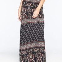Full Tilt Double Border Print Maxi Skirt Black Combo  In Sizes
