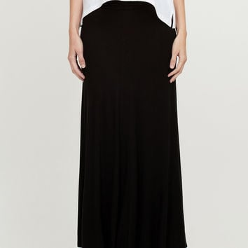 LE3NO Womens Floor Length Maxi Skirt With Stretch