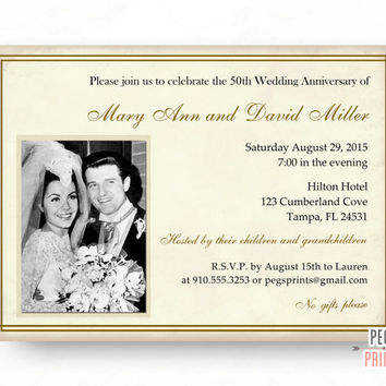 50th Wedding Anniversary Invitations - 50th Anniversary Invitation (Printable) Golden Anniversary Invites - Elegant 50 Year Anniversary
