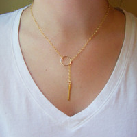 Gold Filled Circle and Arrow Lariat Necklace - Everyday Jewelry - Simple Jewelry - Lariat Necklace - Gold Necklace - Arrow Necklace