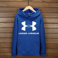 Under Armour Fashion Print Cotton Long Sleeve Sweater Pullover Hoodie Sweatshirt Blue G-YSSA-Z