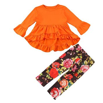 Children Girls Clothing Set  New Fall Fashion Toddler Kids Tops Ruffles Mini Dress Floral Pants Outfit Baby Girl Clothes Set