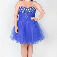 plus size strapless dress with stone neckline and horsehair hem