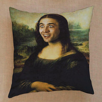 Nicolas Cage Mona Lisa parody pillow case one side or two side