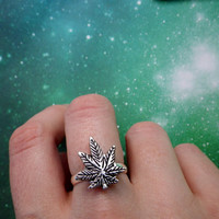 Silver or Gold Pot Leaf ring 420 by lotusfairy on Etsy