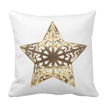 Star Gold Look Elegant Christmas Decor Throw Pillow