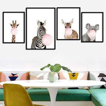 SVITY Giraffe Zebra Animal Posters and Prints Canvas Art Painting Wall Art Nursery Picture Nordic Style Kids Decoration FA690