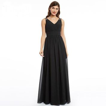 Black v neck dress lace ruched floor length a line dress women sleeveless long gown