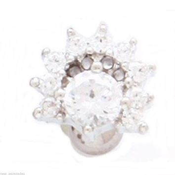 """Cartilage/Tragus Ear Fancy Covered in Clear Gems 16 Gauge 1/4"""" 8mm Body Jewelry"""