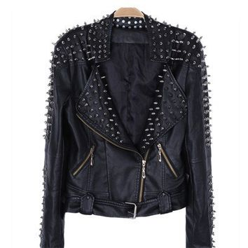Women's Spiked Leather Motorcycle Jacket