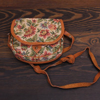 floral tapestry bag // cross body leather small carpet bag