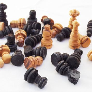 Engraved Olive wood hand carved medium chess pieces, wooden rustic natural black chess board pieces, birthday gift