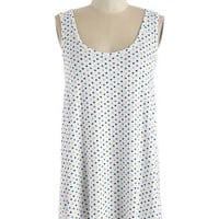 ModCloth Mid-length Sleeveless Custard Stand In Awe Top in White Dots