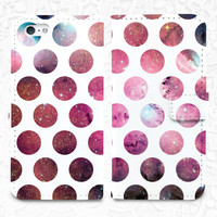 Dots Galaxy iPhone/smartphone flip leather Wallet case for iPhone 6, 6 plus, 5, 5s, 5c, iPhone 4, 4s- Samsung GalaxyS5 S4 S3, Note 3, 4