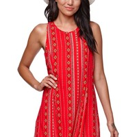 Kendall & Kylie Fit & Flare Lace Up Back Dress - Womens Dress - Multi