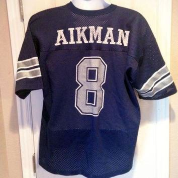 PEAPYD9 Vintage Jersey, Football, Troy Aikman Jersey, Dallas Cowboys, NFL, Logo 7, Size Adult
