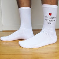 You Knock My Socks Off, Custom Printed Men's Valentine Socks, Valentine's Day Gift Idea, Set of 3 Pairs in Black or White Crew Socks for Men
