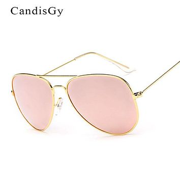 Classic Fashion Flat Lens Mirror aviation Sunglasses Women Stylish  Lady Men Metal Frame Eyewear High Quality Sun Glasses de sol