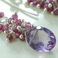 Pink Amethyst Ovals with Cascading Rhodolite Garnet Sterling Earrings | livjewellery - Jewelry on ArtFire