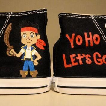 DCCK1IN jake and the neverland pirates hand painted chuck taylor converse shoes infant tod