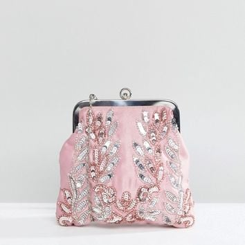 Maya Allover Sequin Embroidered Clutch Bag at asos.com