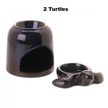 Set of 2 Blue Turtle Oil Warmers