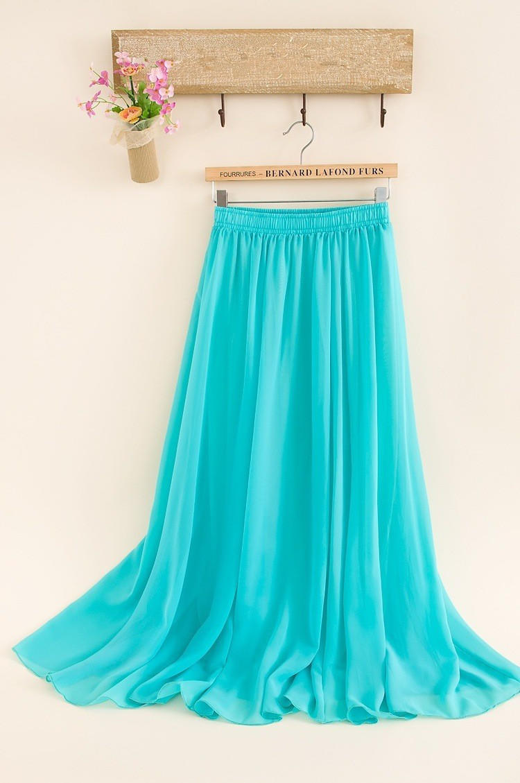 0b990d3e9888 SK71 Long Skirt Elegant Style Women Pastel Volume Candy Coloured Pleated  chiffon Maxi