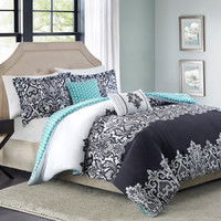 Better Homes and Gardens Damask 5-Piece Bedding Set, Black,Full/Queen