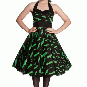 Hell Bunny – Bat Print 50′s Dress In Black/Green Print | Thirteen Vintage