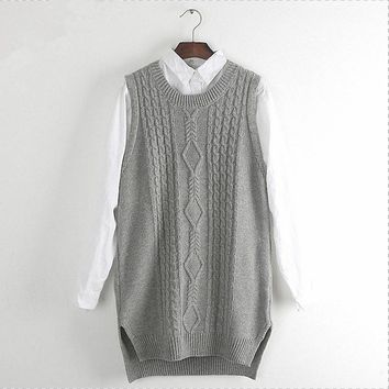 Women Winter Knitted Waistcoat Casual Solid Long Split Sleeveless Ribbed O-neck Pullover Cable Sweater Vest Female Gray