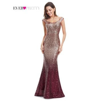 Evening Dress Long Sparkle V-Neck Mermaid Maxi Evening Party Gown Dress