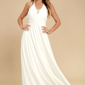 Celebrate the Moment White Lace Maxi Dress