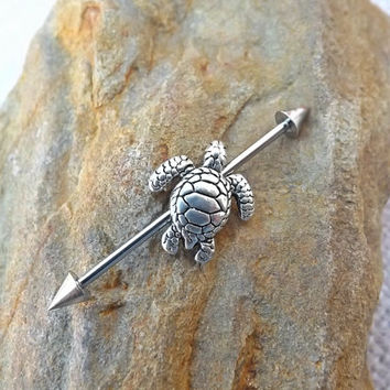 Turtle Industrial Barbell  Upper Ear Body Jewelry Body Jewelry 14ga