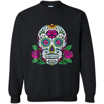 Day of Dead Skull  Sugar Skull Pirates Skeleton Printed Crewneck Pullover Sweatshirt