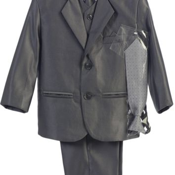 Boys Dark Grey Metallic 7pc Suit w. 2-Button Jacket 6m-14