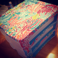 Hand Painted Lilly Pulitzer Print Drawer Set