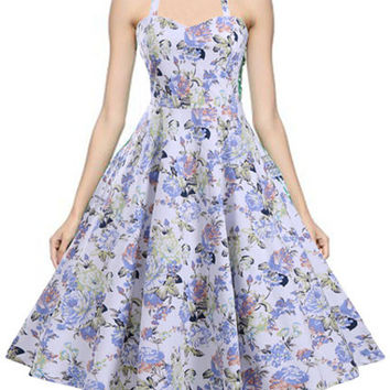 Vintage Style Audrey Hepburn Dress Flowers Printed Halter Swing Inspired Midi Backless Dress