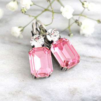 Pink Earrings, Pink Drop Earrings, Pink Swarovski Bridal Earrings, Bridesmaids Earrings, Gift For her, Octagon Dangle Light Pink Earrings