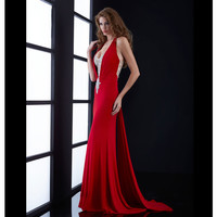 Red Ruched Waterfall Train Beaded Bodice Gown